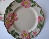 Vintage Franciscan Desert Rose USA Pink Green Floral Luncheon Plates Set of Four