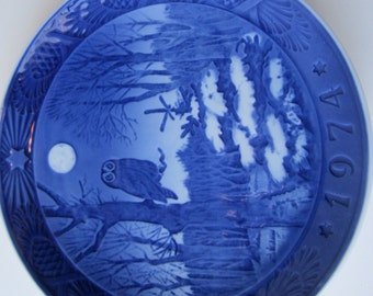 Vintage Royal Copehagen Winter Twilight 1974 Plate Wall Hanging