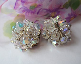 Vintage Aurora Borealis Crystal Goldtone Sparkly Clip Earrings
