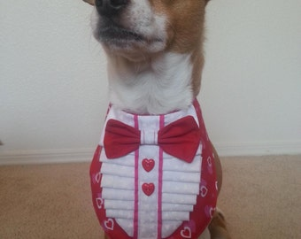 All Holidays - Valentines - TUXEDO Style Bandana  - Custom made - Sizes 9.99-14.99 - made to order