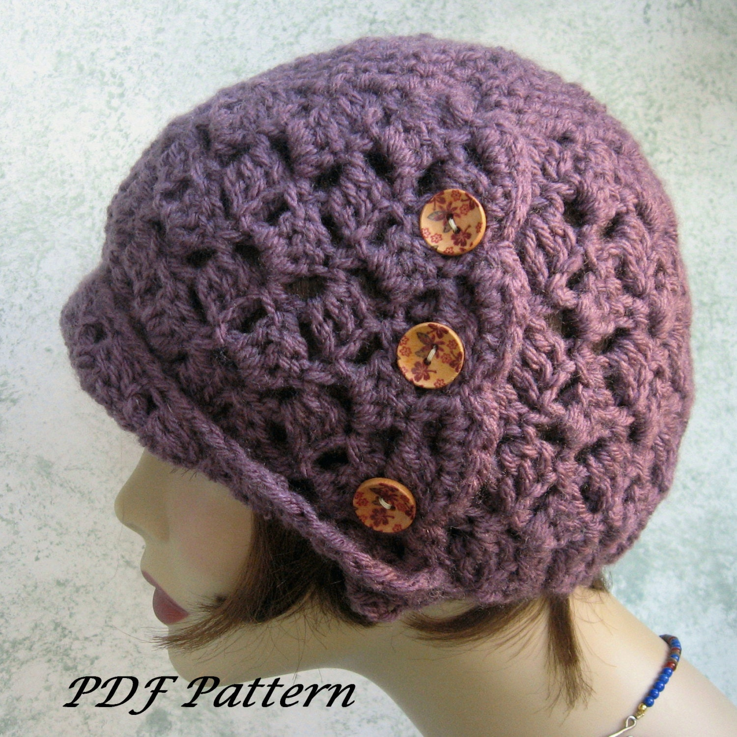 Crochet Pattern Womens Hat : Crochet Hat Pattern Womens Side Button Cloche Easy To Make