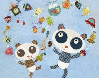 Two Pandas Juggling Print 8.5 x 11