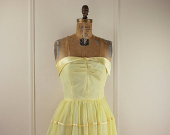 vintage 1960s Yellow Strapless Satin and Chiffon Party Dress - size extra small to small, xs/s