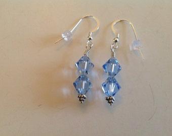 Light blue Swarovski crystal earrings