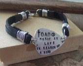 Personalized Guitar Pick Leather Bracelet - Handstamped Fathers Mens Dads Jewelry