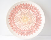 Coral Orange Large Round Platter, Ready to be shipped - MudHandChan