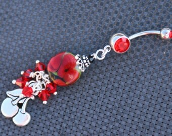 Cherries N Lampwork Flowers Floral Glass DeSIGNeR Belly Button Ring Spring Summer Bouquet