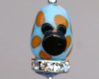 European Mickey Minnie Mouse Style Easter Egg Disney Inspired DeSIGNeR Lampwork Bracelet Charm Pastel Blue Orange