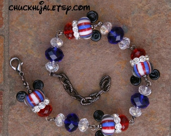 Patriotic Red White N Blue Disneyland Magic Lampwork Disney Inspired Mickey Minnie Mouse Style DeSIGNeR Bracelet 4th of July American Flag