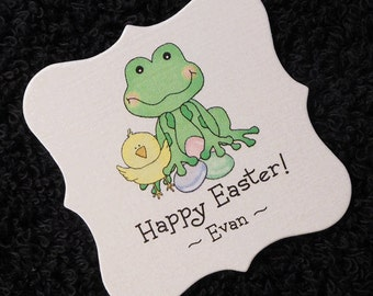 Personalized Easter Gift Tags, Candy Tags, frog with chick and eggs, set of 20