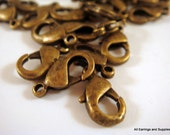25 Antique Bronze Lobster Clasps Plated Alloy 12x7mm - 25 pc - F4007LC-AB12-25