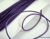 SALE - 15ft Purple Satin Cord 1mm Braided Bugtail - 5 yds - STR9066CD-PP15