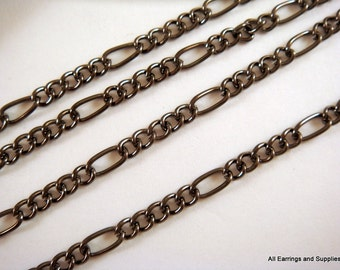 5ft Black Chain Mother Son Figaro Gunmetal Chain Plated Iron Lightweight Not Soldered - 5 ft - STR9038CH-B5