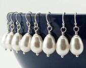 Bridal Jewelry Set of 4 Earrings - Bridesmaid Earrings Wedding Jewelry - Pearl Earrings - Bridal Earrings - Silver Wedding Earrings