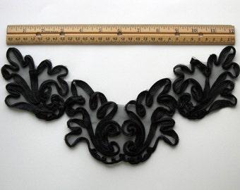 1 Vintage Black Lace Applique