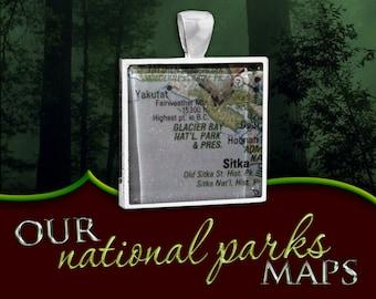 Glacier Bay National Park Map Pendant