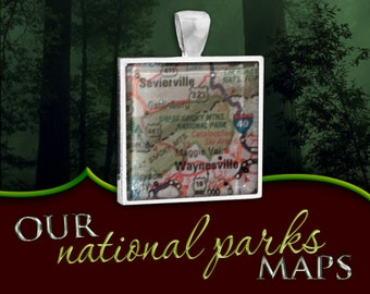 Great Smoky Mountains National Park Map Pendant