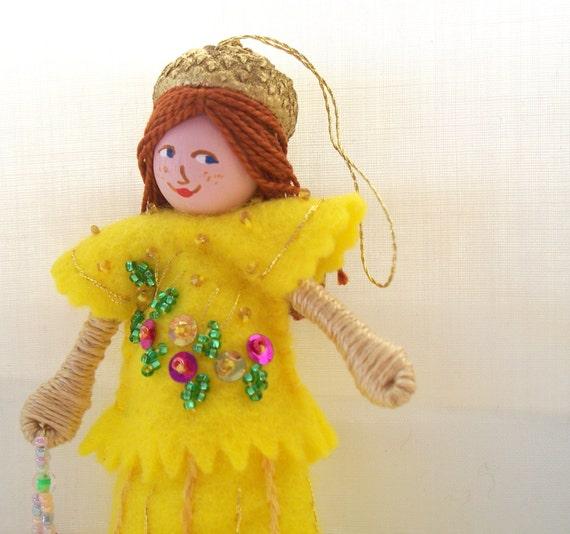 Felt Art Doll - Pineapple Gelato - Spring Hanging Ornament