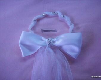 Pearl,Rhinestone and Glittery Tulle Headpiece,