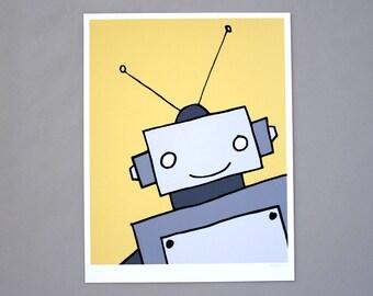 Yellow & Gray Robot 8x10 Robot Art Print