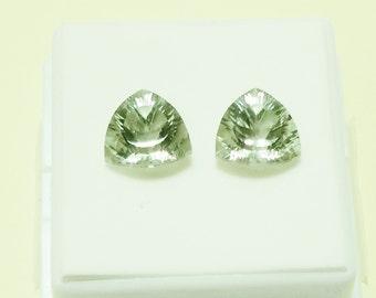PRASIOLITE - Green Amethyst - Parcel of 2 -10mm Trillion - GEM142034 - February Birthstone