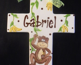 "Extra Large 10"" Children's Monkey Cross Plaque  - Birth, Baptism or Christening Gift"