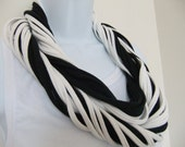 Multi Strand T Shirt Infinity Scarf Eternity Circle Looped - Black and White