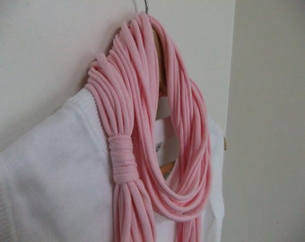Infinity T Shirt Scarf Necklace - Multi Strand - Eternity - Loop - Fabric Jewelry - Noodle scarf - Pink