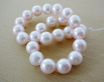 Vintage .. Beads, Pale Pink Resin Pearls, 8mm Faux Pearl