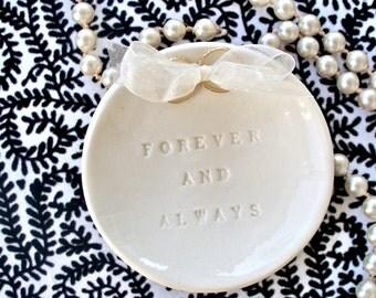 Forever & Always Ring Bearer Bowl - Creamy Natural White - Ring Pillow - Ring Pillow Alternative - Ring Warming - Wedding Ceremony