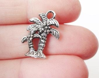 10 Palm Tree (3D) Charms19x14x5mm,hole: 2.0mm