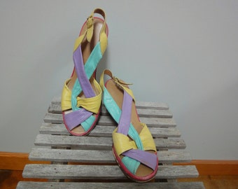 Mod Penaljo Sandals, 1960s Sling Back Strappy Multicolor, Size 6 1/2