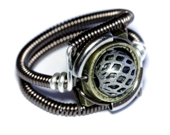 Steampunk Jewelry - Ring - Silver and Antique Brass tone