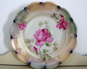German Rose Plate Hand Painted Pink Roses Iridescent