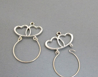 Silver Plated 35mm x 40mm Two HEARTS Looped Pendant/Centerpiece, openable side, Set of 2, 1049-60