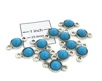 Turquoise Cabochon Antiqued Silver 20mm x 10mm 2-Loop Round Connector/Link, Set of 12, 1085-05