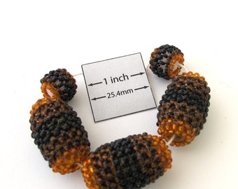 Black, Brown and Orange Seed Beaded Large 28mm x 20mm Oval Beads and 12mm x 15mm Rondelle, Sold per 5 pc set, 1009-32