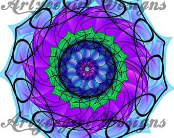 Blue Swirls, Mandala