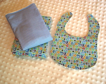 Owls in Blue Bib & Burp Cloth Set
