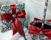 CUSTOM BASKET or PILLOW Ringbearer Ring Pillow and/or Flower Girl Basket Madison Black and White with deep red accent or your choice ribbon