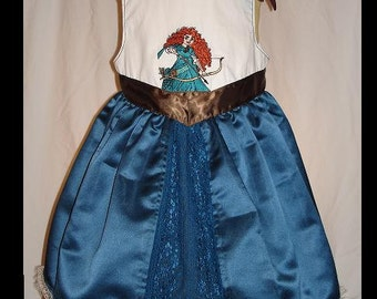 Brave's Merida Inspired Embroidered Dress(-----)Merida Embroidery(-----)Shoulder Ties(-----)Sizes 18 Months-Girls size 8