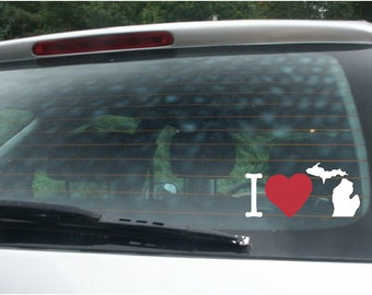 I LOVE Michigan V11-  Vinyl Car Window Decal