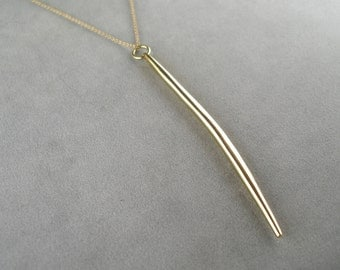 long gold spike necklace on 14k gold filled chain