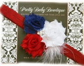 Red White and Blue Baby Headband - Girl Fourth of July Flower Headband Patriotic Bow On Stretch Headband
