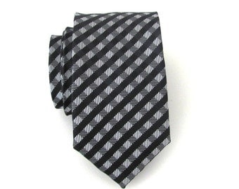 Necktie Black and Gray Checkers Mens Skinny Tie