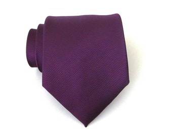 Mens Ties Necktie Eggplant Purple Tonal Stripes Silk Tie