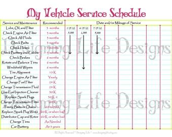 Car Schedule Printable - Editable Service Log - Home Binder
