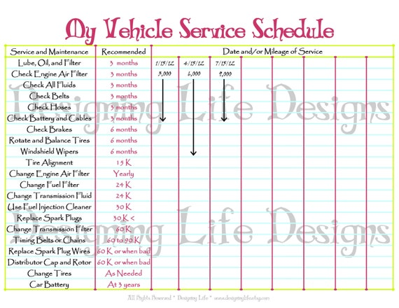 car schedule printable editable service log home binder