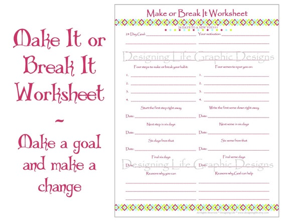 Make It or Break It Printable Worksheets 24 Days of Habit – Life Coaching Worksheets