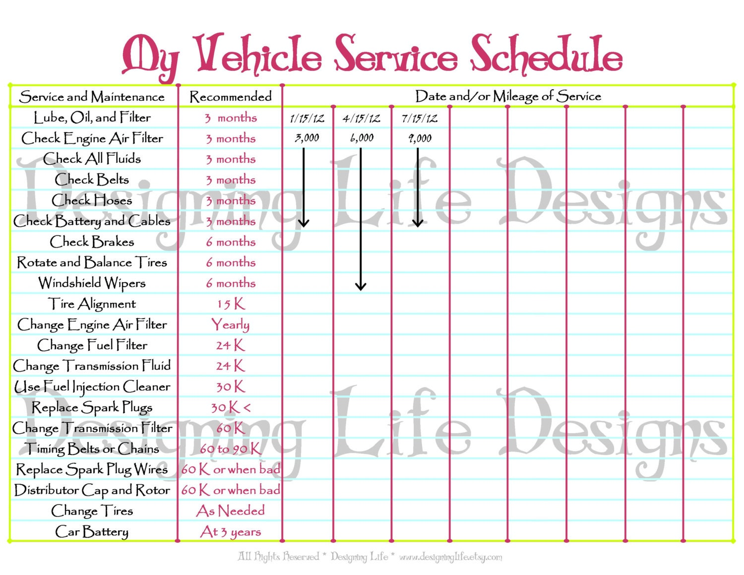 Car Schedule Printable Editable Service Log Home Binder